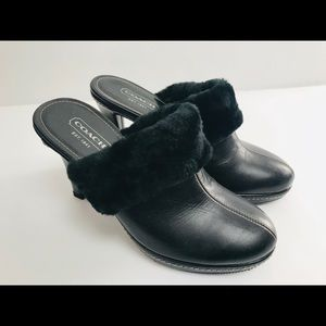 Coach Kacie Black Shearling Clog